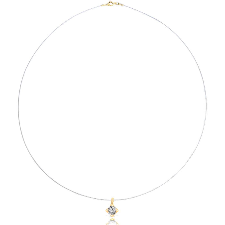 Pandantiv solitaire aur galben cu diamant pe guta