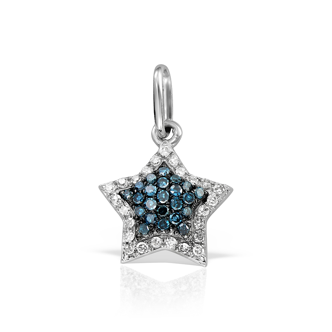 Pandantiv  stea cu diamante albastre