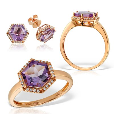 Bijuterii set cu ametiste si diamante
