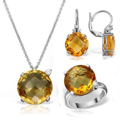 Bijuterii set cu citrin si diamante