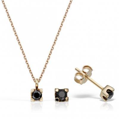 Bijuterii set cu diamante negre