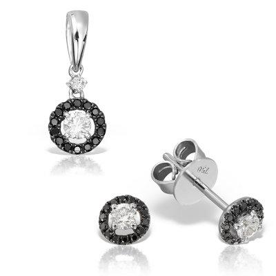 Bijuterii Set Cu Diamante Negre Si Albe