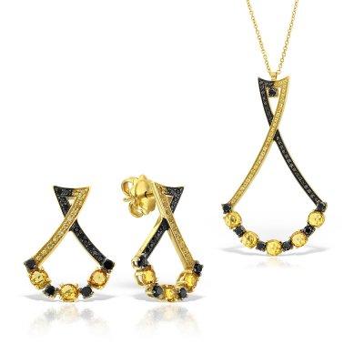 Bijuterii set cu diamante negre si safire galbene