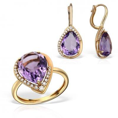 Bijuterii Set Cu Diamante Si Ametiste