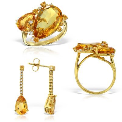 Bijuterii set cu diamante si citrine