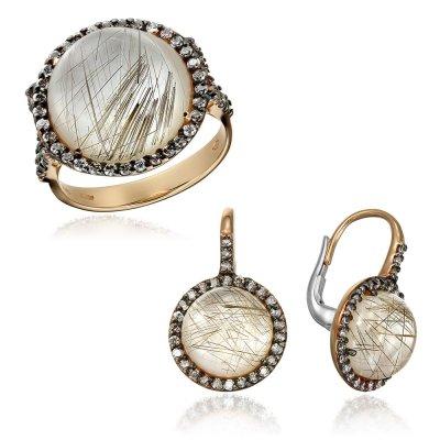 Bijuterii Set Cu Diamante Si Cuart Cu Rutil