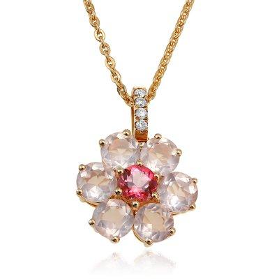 Bijuterii set cu diamante si cuart roz