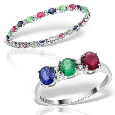 Bijuterii set cu diamante, smaralde, safire, si rubine