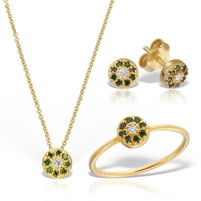 Bijuterii set cu diamante verzi