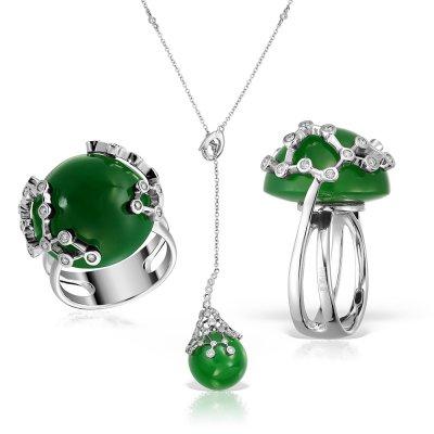 Bijuterii set cu jad si diamante