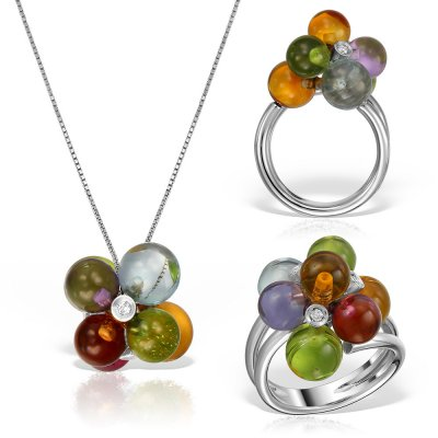 Bijuterii set cu pietre multicolore si diamante