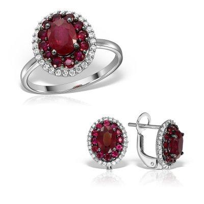 Bijuterii set cu rubin si diamante