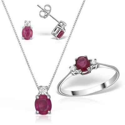 Bijuterii Set Cu Rubine Si Diamante