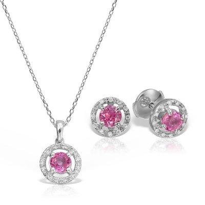 Bijuterii Set Cu Safire Roz Si Diamante
