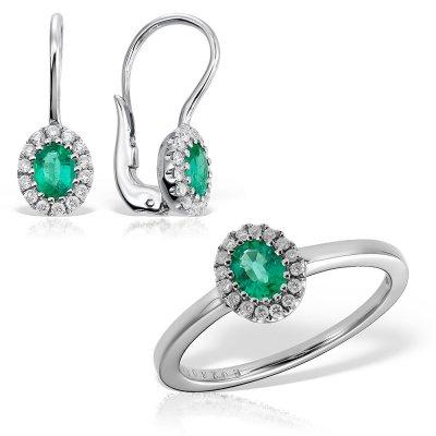 Bijuterii Set Cu Smaralde Si Diamante 18k