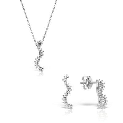 Bijuterii set din aur alb cu diamante