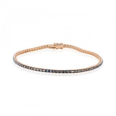 Bratara tennis aur roz cu diamante albastre