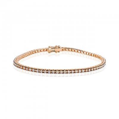 Bratara tennis aur roz cu diamante brown