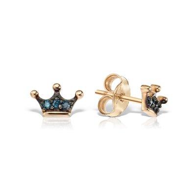 Cercei aur roz cu diamante albastre