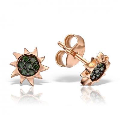 Cercei aur roz cu diamante verzi