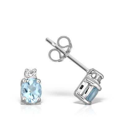 Cercei Cu  Aquamarine Si Diamant