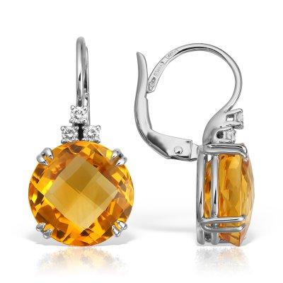 Cercei Cu Citrin Si Diamante 18k