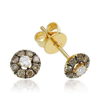 Cercei cu diamante maro