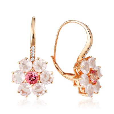 Cercei cu diamante  si cuarturi roz