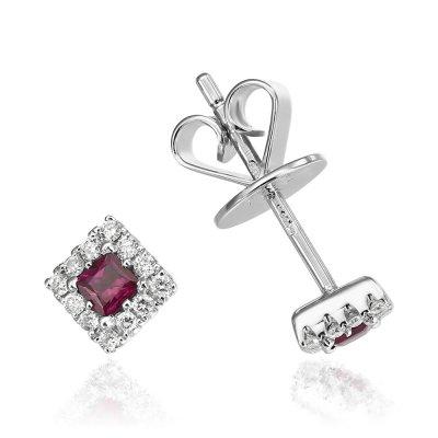Cercei Cu Diamante Si Rubine