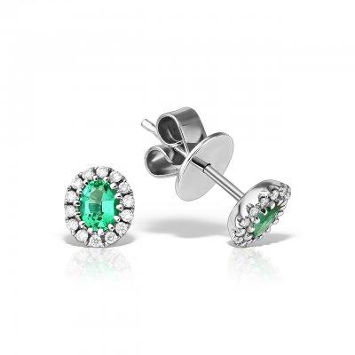 Cercei Cu Diamante Si Smarald