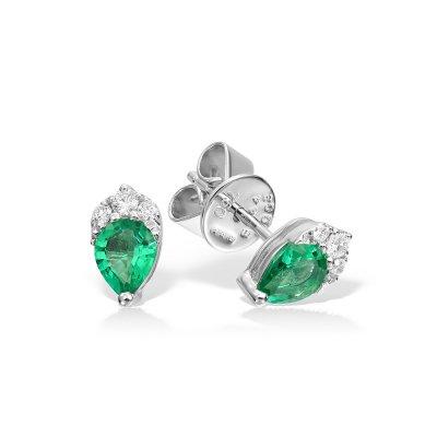 Cercei Cu Diamante Si Topaz Verde
