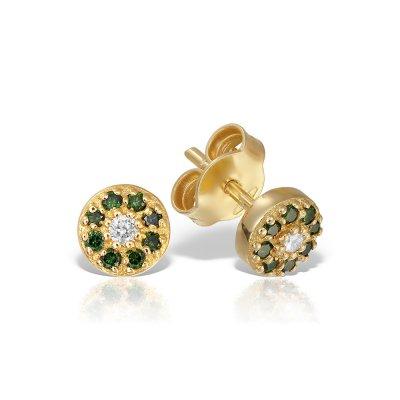 Cercei cu diamante verzi