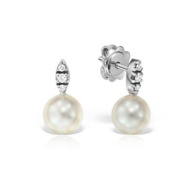 Cercei Cu Perla Si Diamante