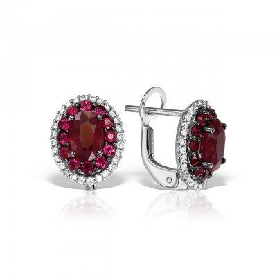 Cercei cu rubin si diamante
