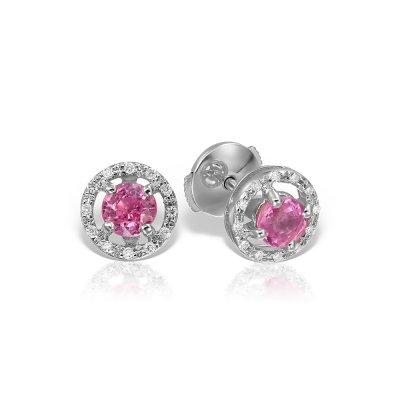 Cercei cu safire roz si  diamante