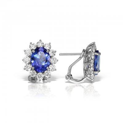 Cercei cu tanzanit si diamante