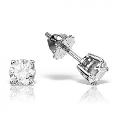 Cercei de aur alb cu diamante