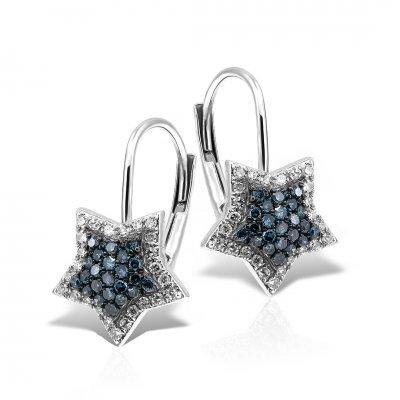 Cercei Din Aur Alb 18k Cu Diamante Albastre