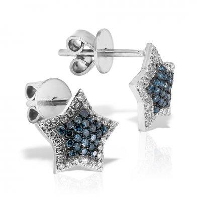 Cercei din aur alb cu diamante albastre