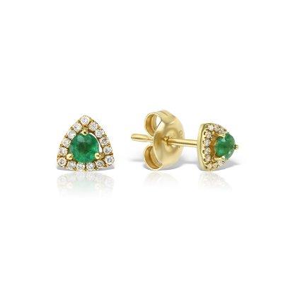 Cercei Din Aur Galben Cu Diamante Si Smaralde