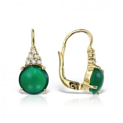 Cercei Din Aur Galben Cu Onix Verde Si Diamante