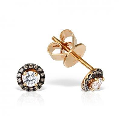 Cercei din aur roz 18k cu diamante