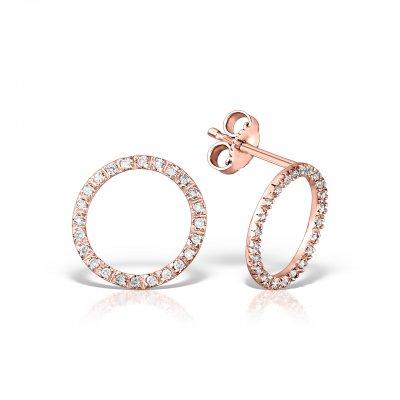 Cercei din aur roz cu diamante brown