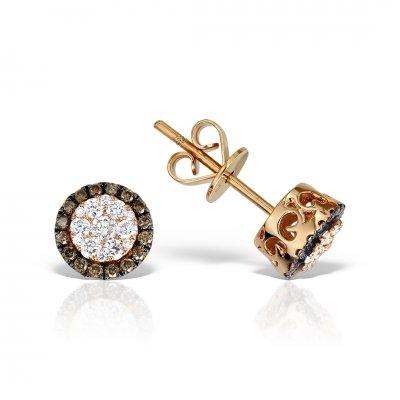 Cercei din aur roz cu diamante