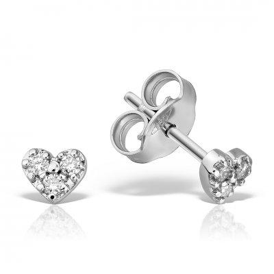 Cercei heart shaped cu diamante