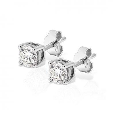Cercei solitaire aur alb cu diamante