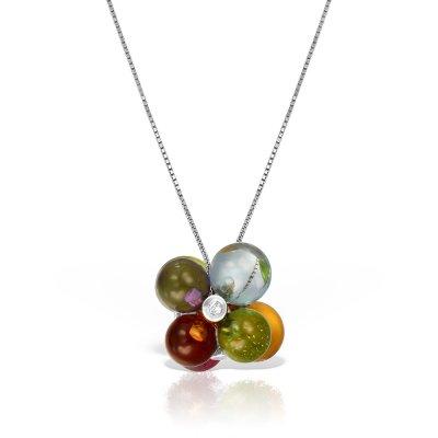 Colier aur cu pietre naturale si diamante