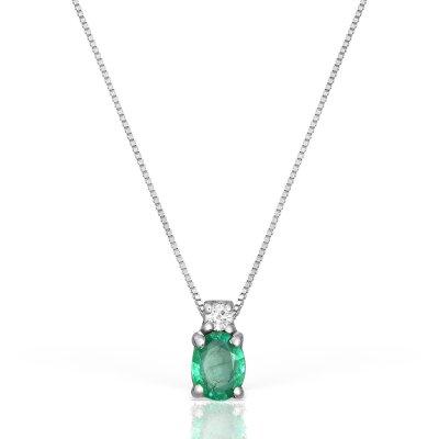 Colier Cu Diamant Si Smarald