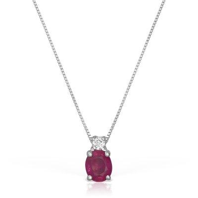 Colier Cu Rubin Si Diamant