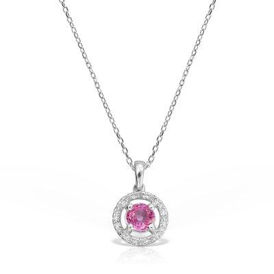 Colier cu safir roz si diamante